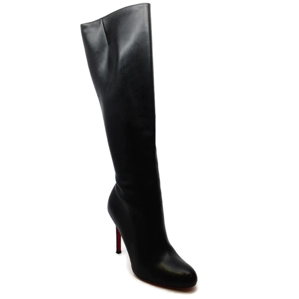 Christian Louboutin Black Tall Leather Round Toe Boots/Booties