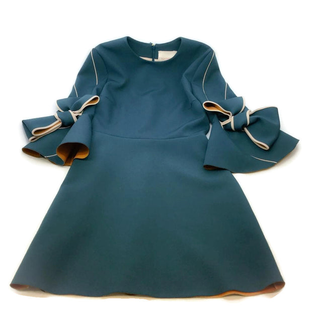 Roksanda Teal Harlin Bow Trim Cocktail Dress