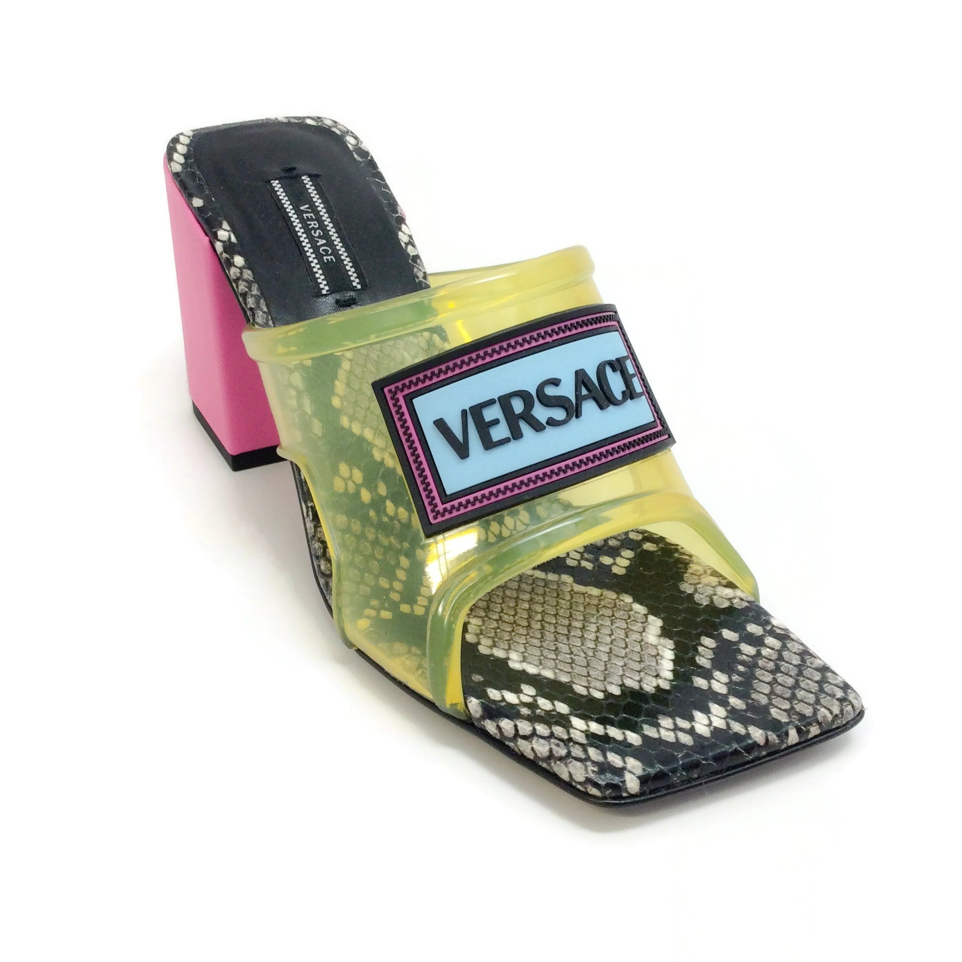 Versace Yellow Multi 70 PVC Snake Sandals