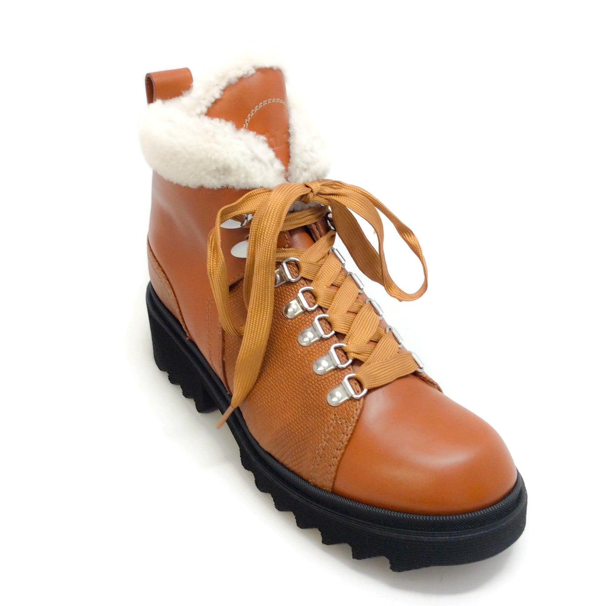Chloé Brown Bella Leather Shearling Lined Hiking Boots