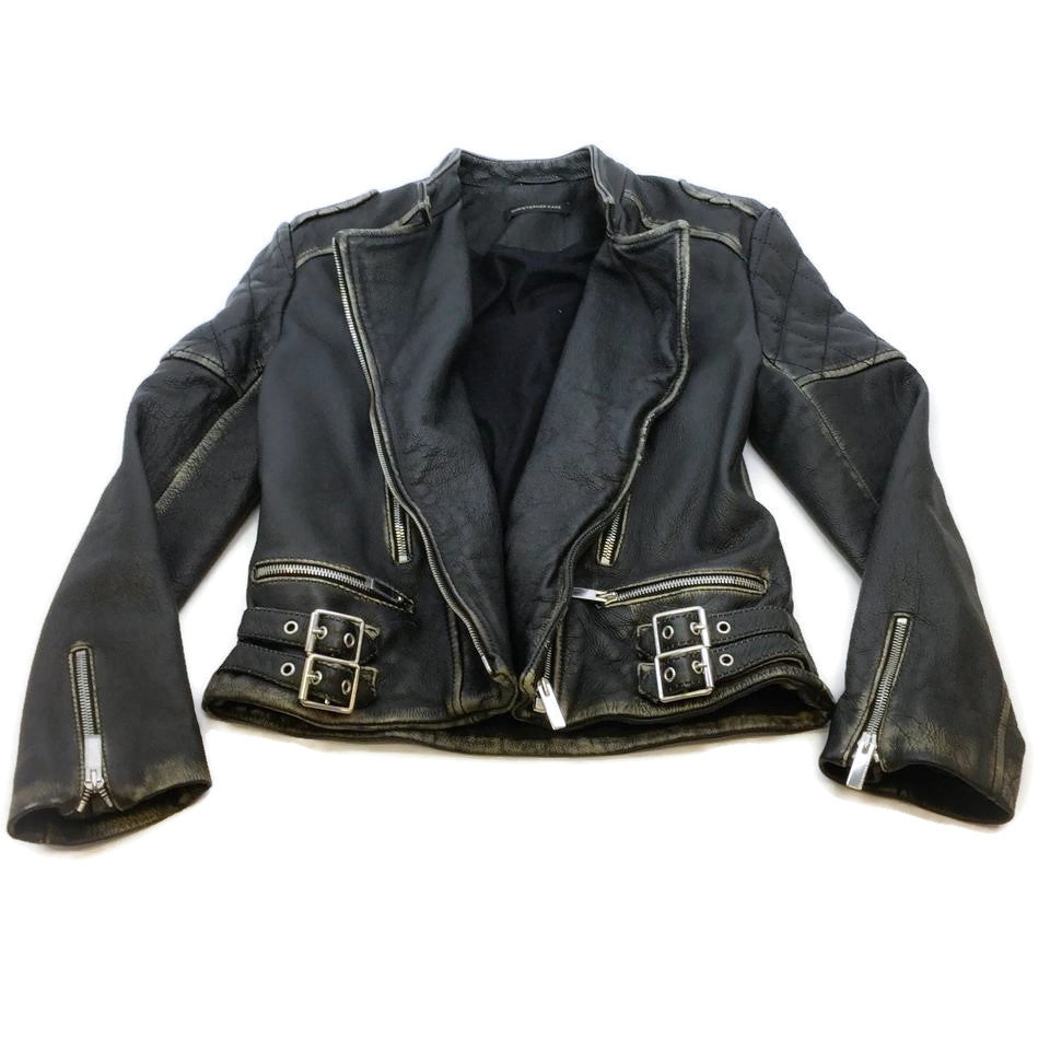 Christopher Kane Black / Beige Distressed Moto Jacket