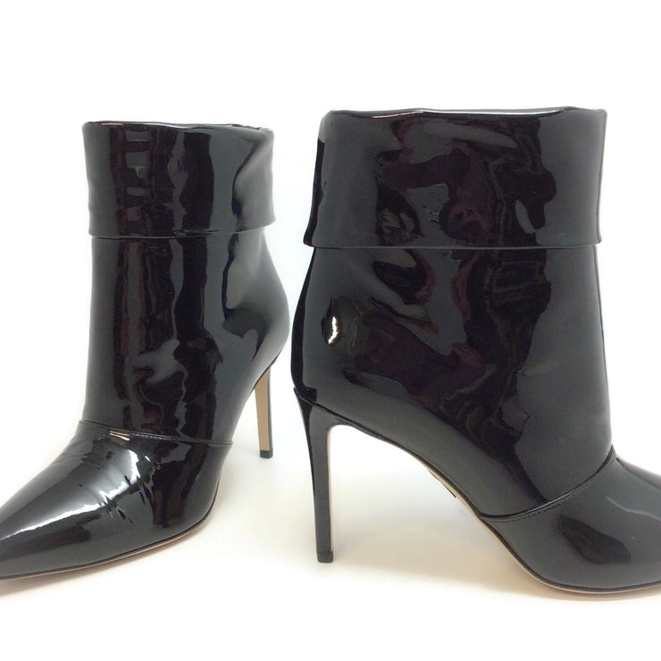 Paul Andrew Black Patent Banner Boots