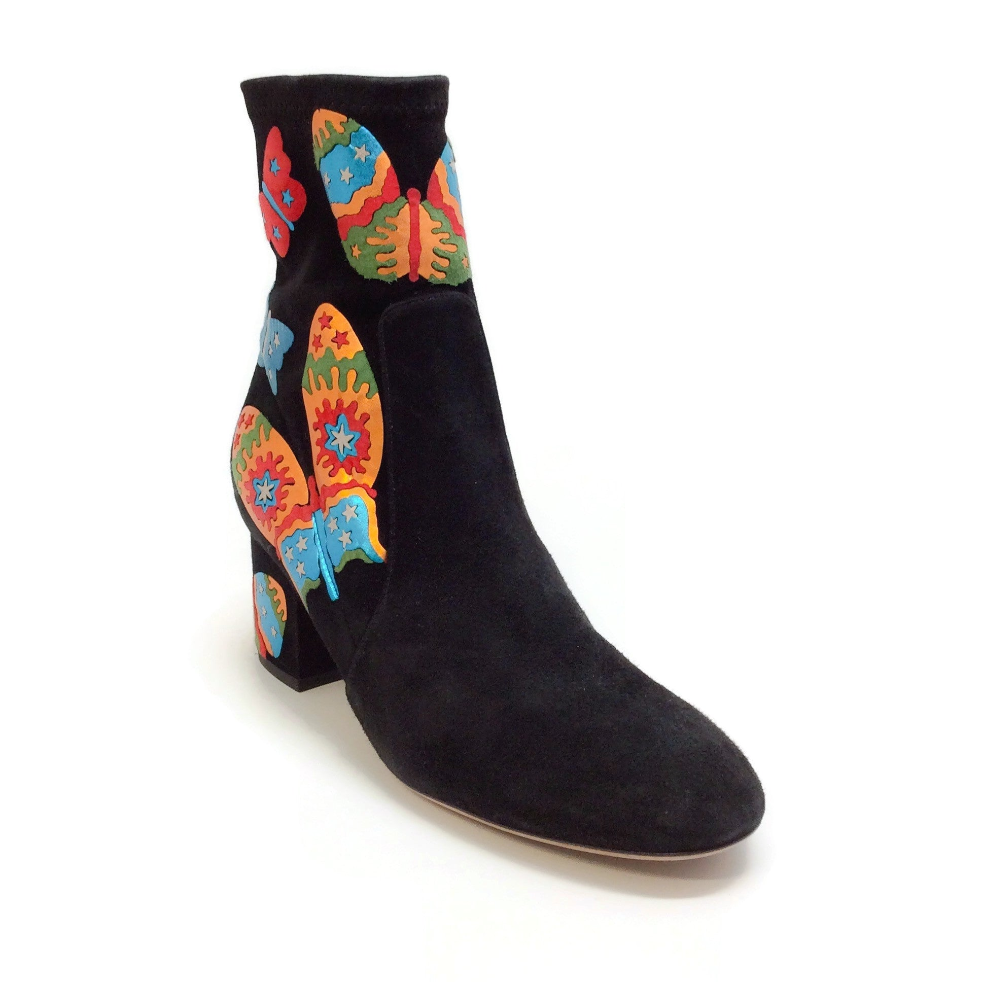 Valentino Black Multi Suede Butterfly Boots
