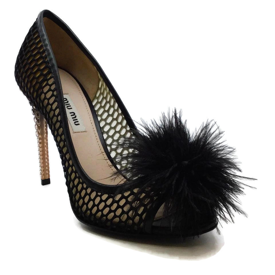 Miu Miu Black Mesh Feather and Crystal Peep Toe Pumps