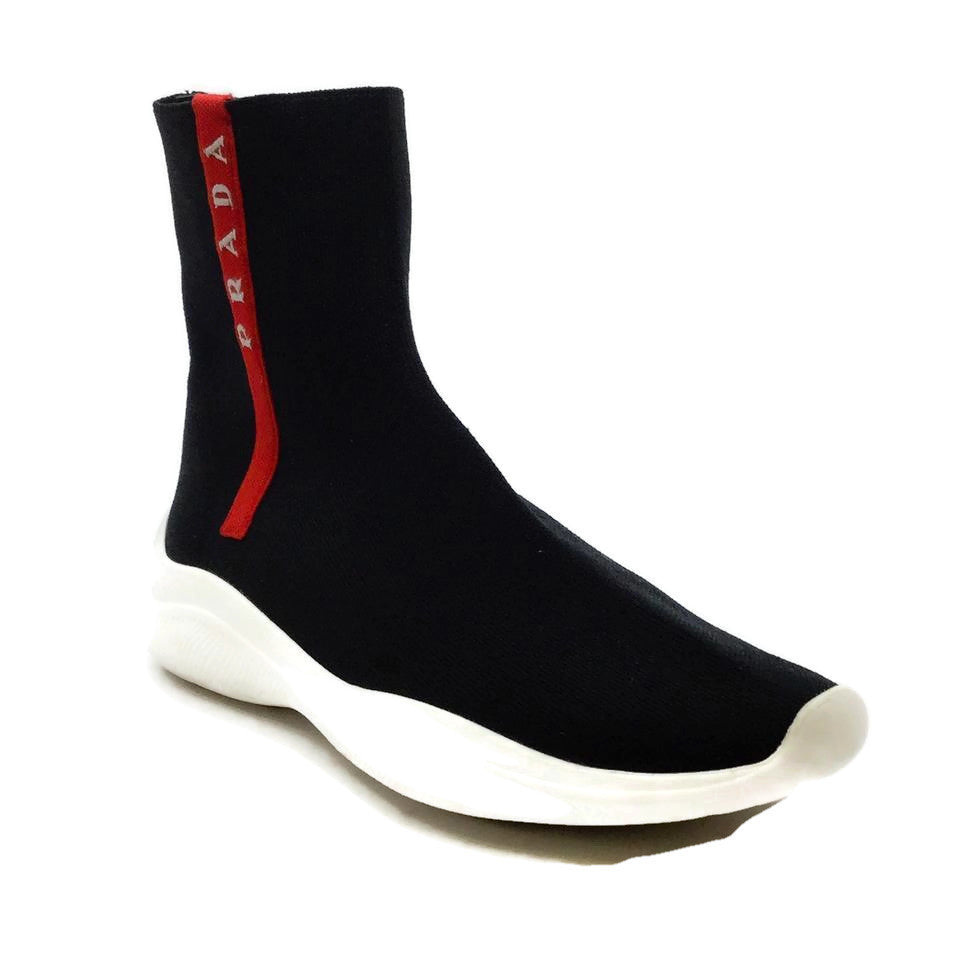Prada Black Knit High Top Sneakers