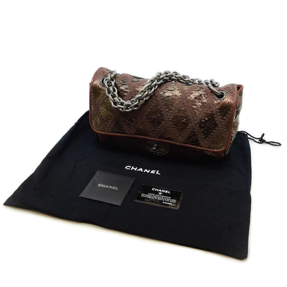 Chanel Classic Flap Knitted Snake Brown Metallic Shoulder Bag