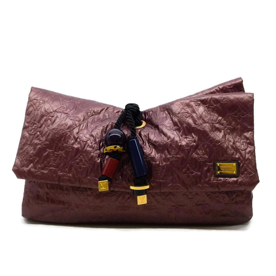 Louis Vuitton Mara Mono Limelight Ox Blood Fabric Clutch