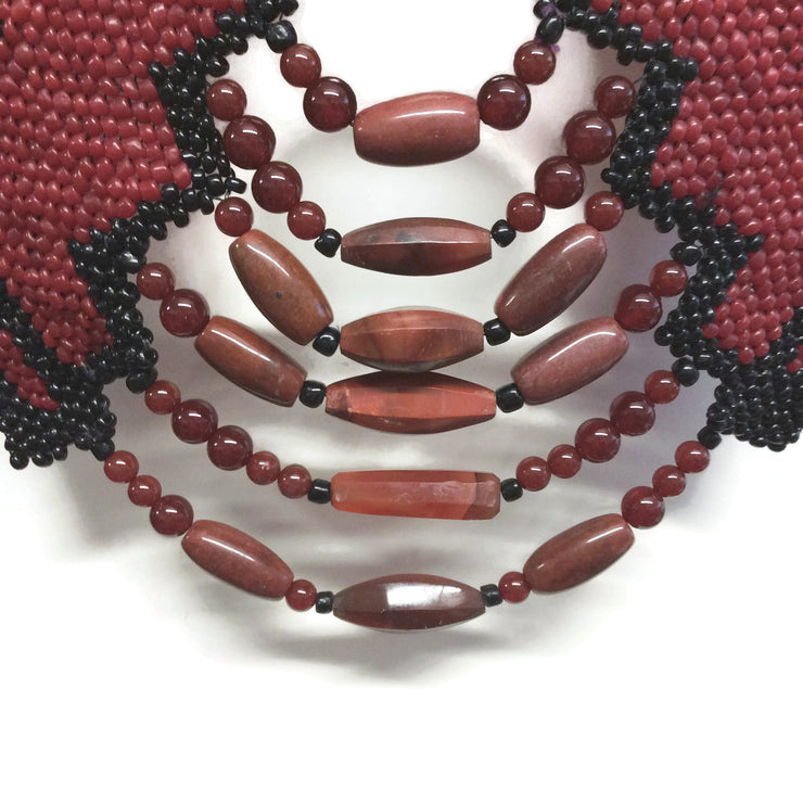Red Multi Beaded V Necklace