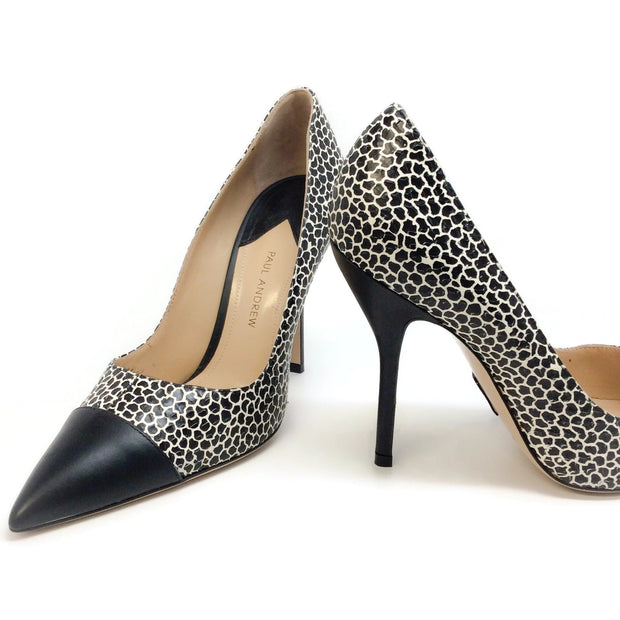 Paul Andrew Black / White Cap Toe Snake Embossed Pumps