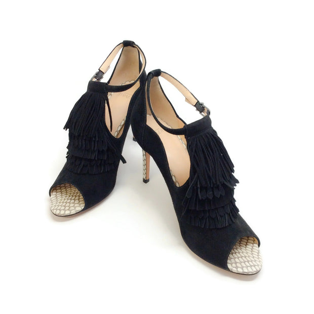 Alexandre Birman Black Suede Kilted Peep Toe Pumps