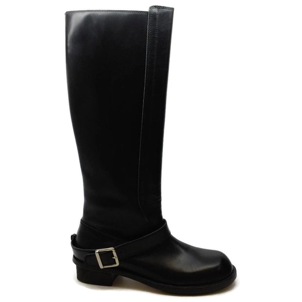 Chloé Black Leather Round Toe with Buckle Boots/Booties