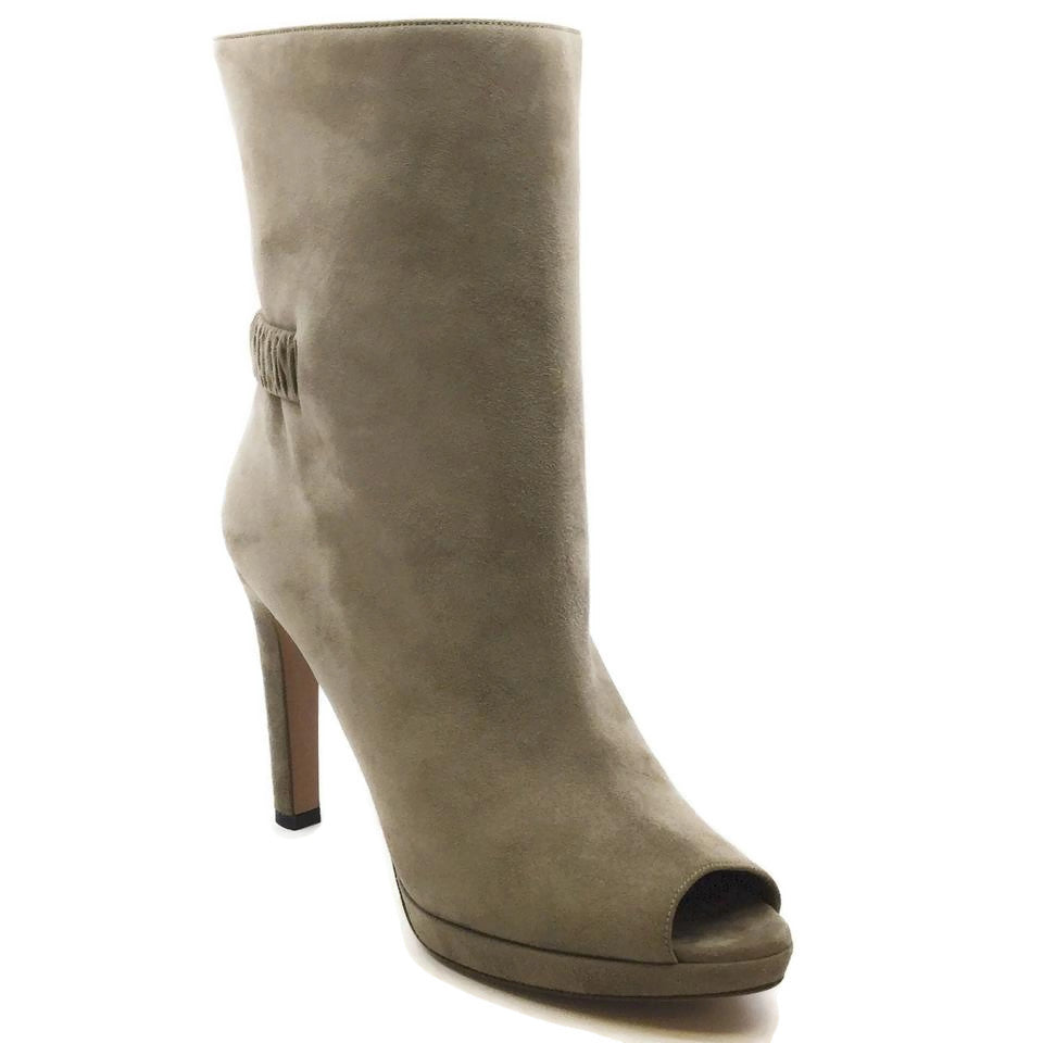 Prada Taupe Suede Open Toe Boots/Booties