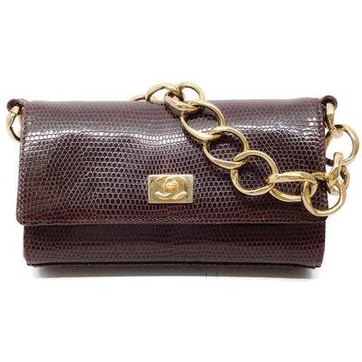 Chanel Classic Flap Gold Chain Burgundy Lizard Skin Leather Baguette