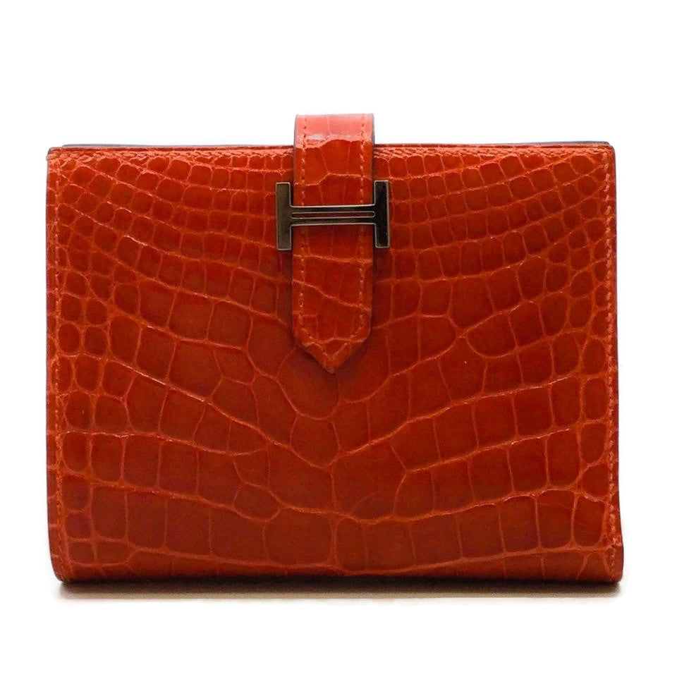 Hermès Red Alligator Bearn Wallet