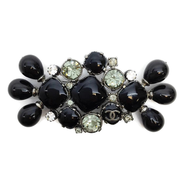 Chanel Black Stone and Crystal Brooch
