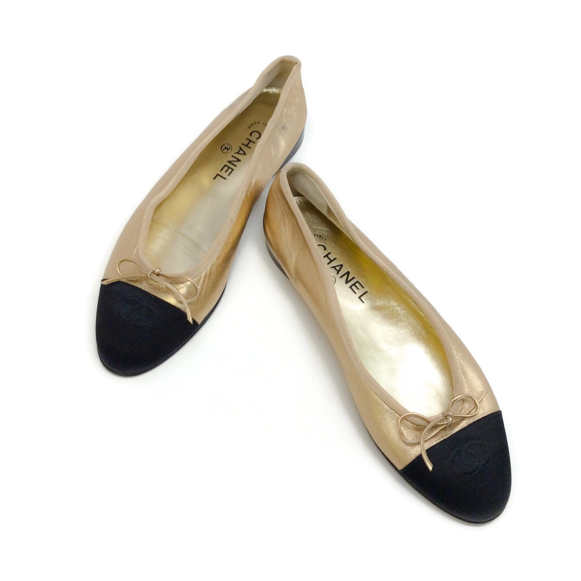 Chanel Gold / Black Logo Ballet Flats