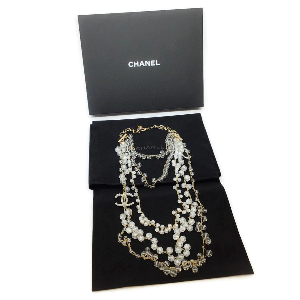 Chanel Clear Resin Multi Strand Necklace