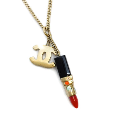 Chanel Gold and Red Lipstick Necklace