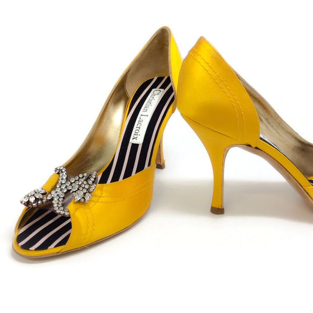 Christian Lacroix Gold Satin Crystal Embellished Pumps