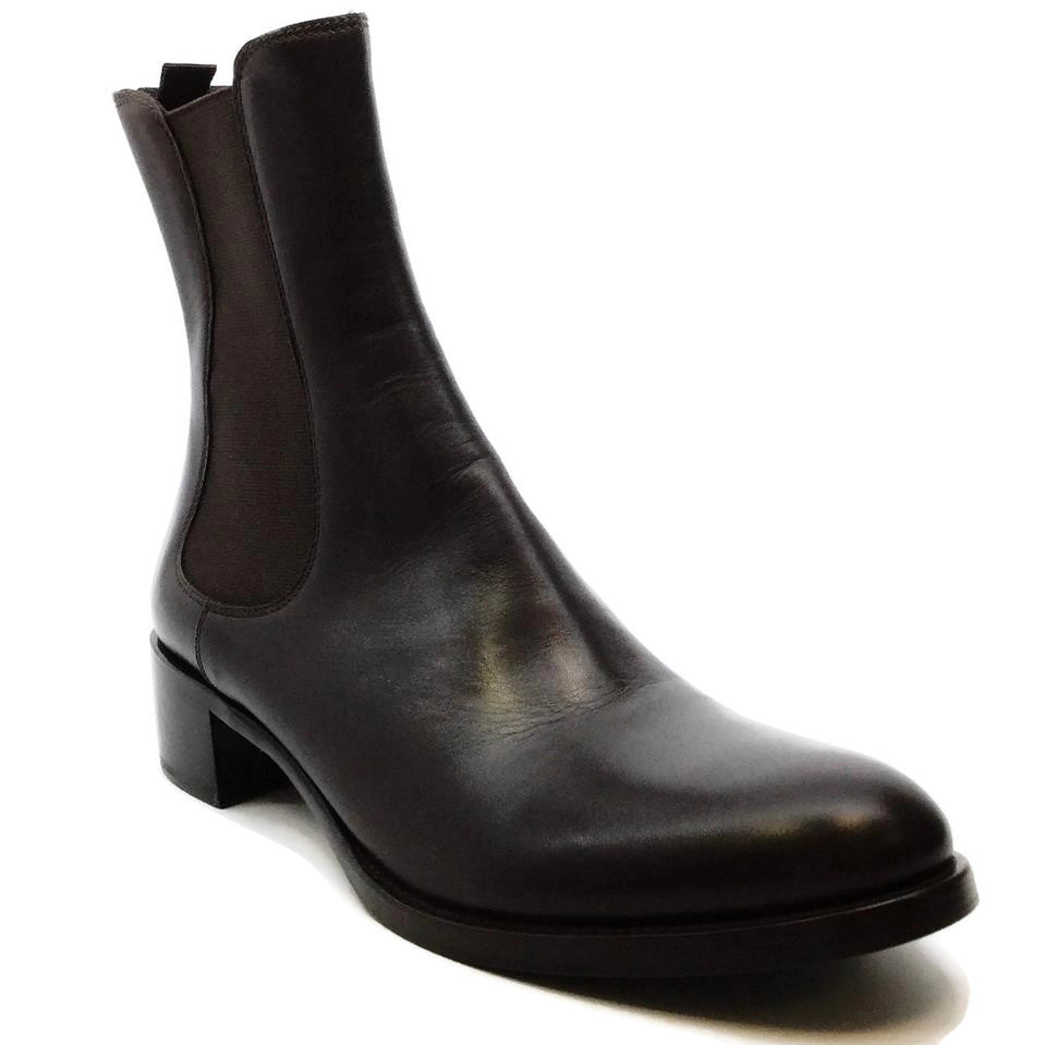 Jil Sander Dark Brown Pull On Ankle Boots/Booties