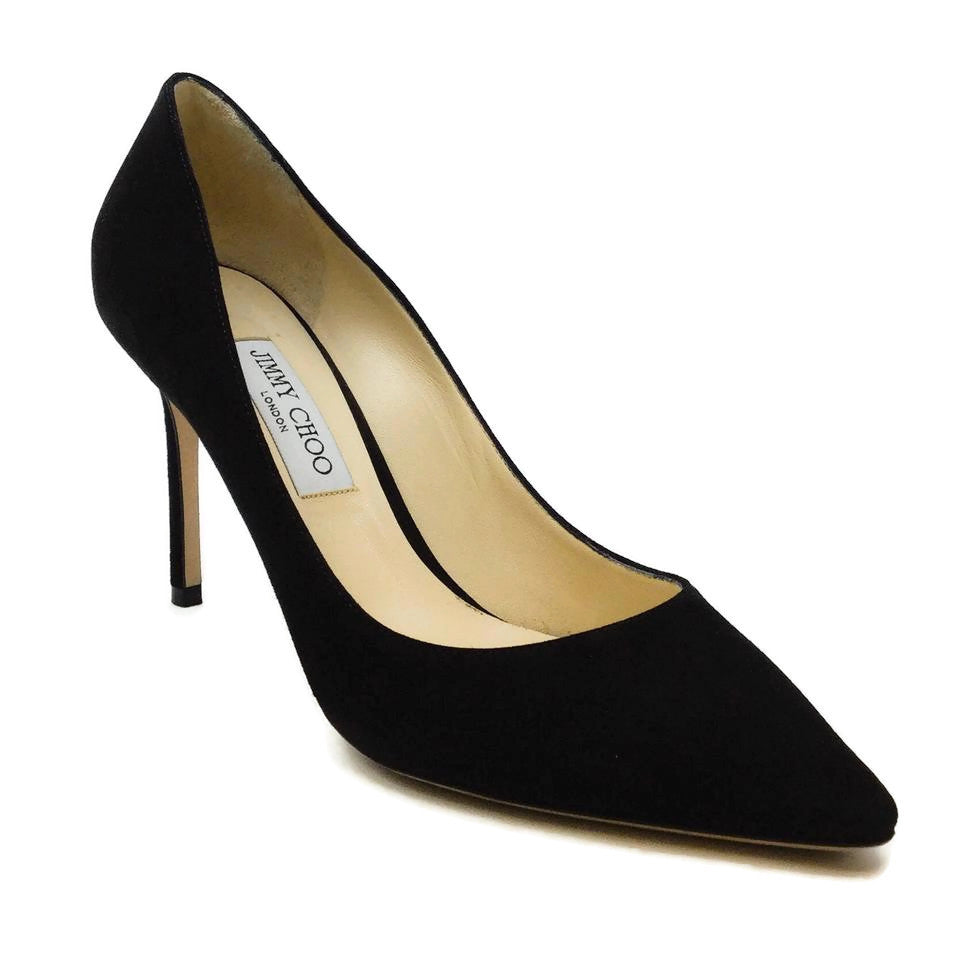 Jimmy Choo Black Romy Suede 85 Pumps