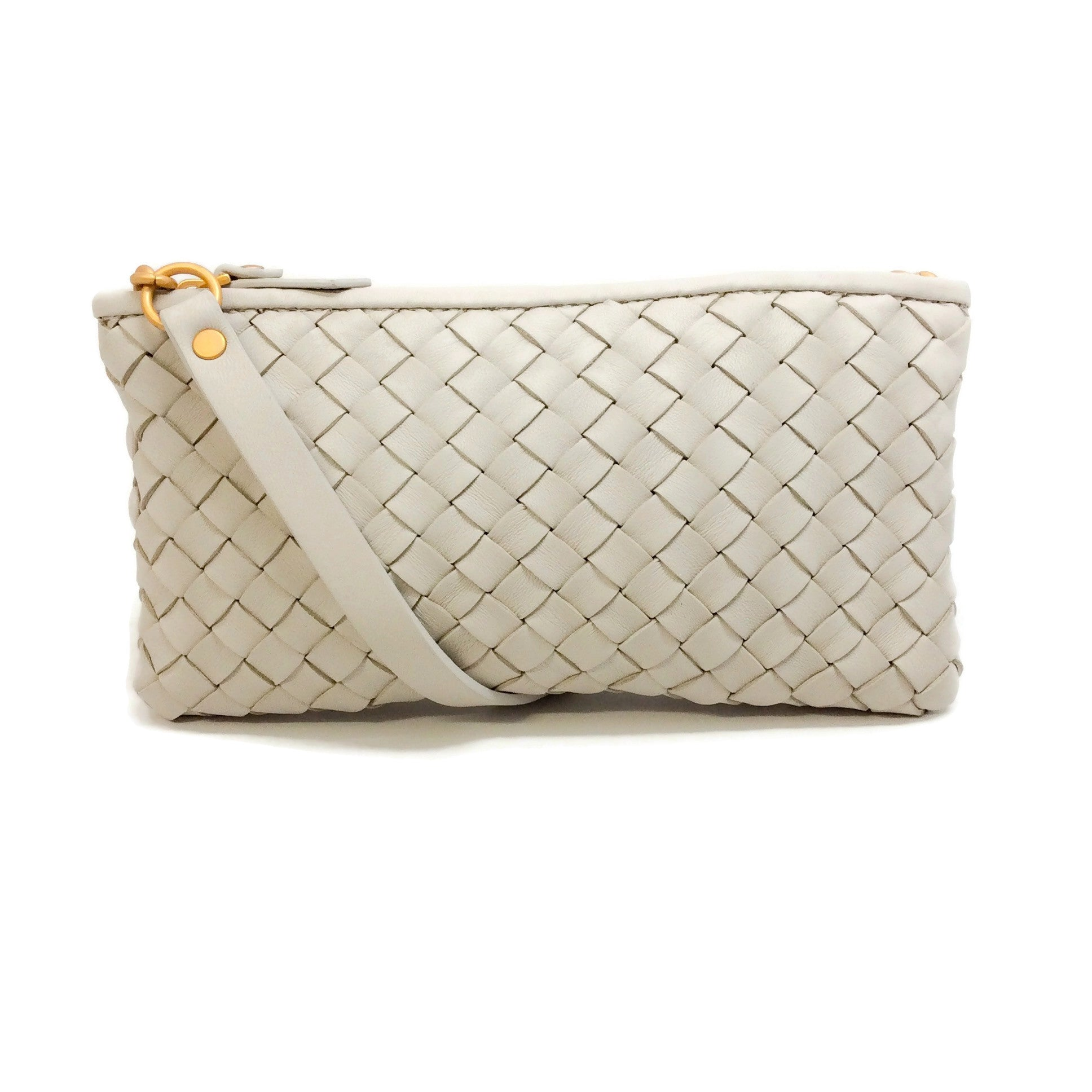 Bottega Veneta Ivory Intrecciato Leather Shoulder Bag