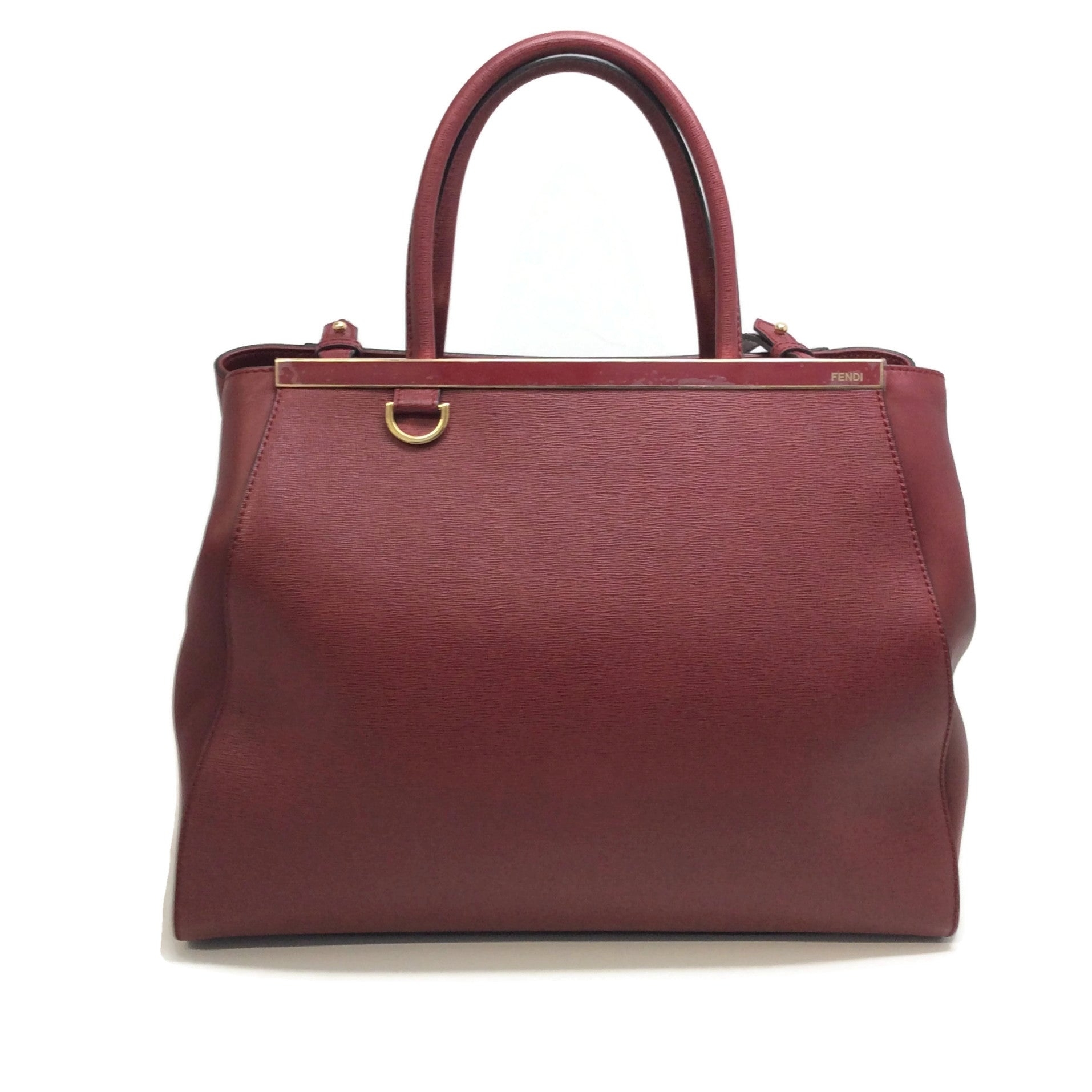 Fendi Medium 2 Jour Oxblood Leather Tote