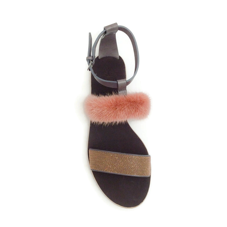Brunello Cucinelli Brown / Rose Gold Fur and Monili Flat Sandals
