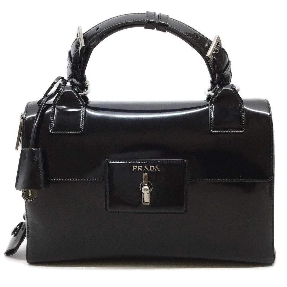 Prada Turn Lock Black Patent Leather Satchel