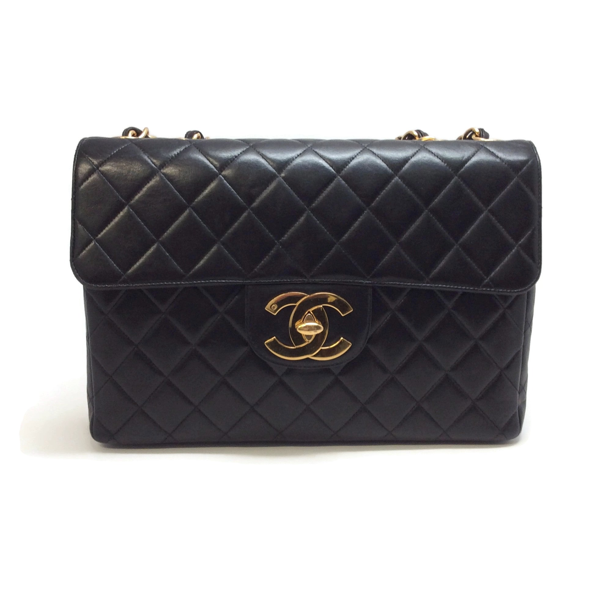 Chanel 1994 - 1996 2.55 Reissue Jumbo Black Calfskin Leather Shoulder Bag
