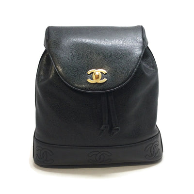 Chanel Black Caviar Leather Backpack