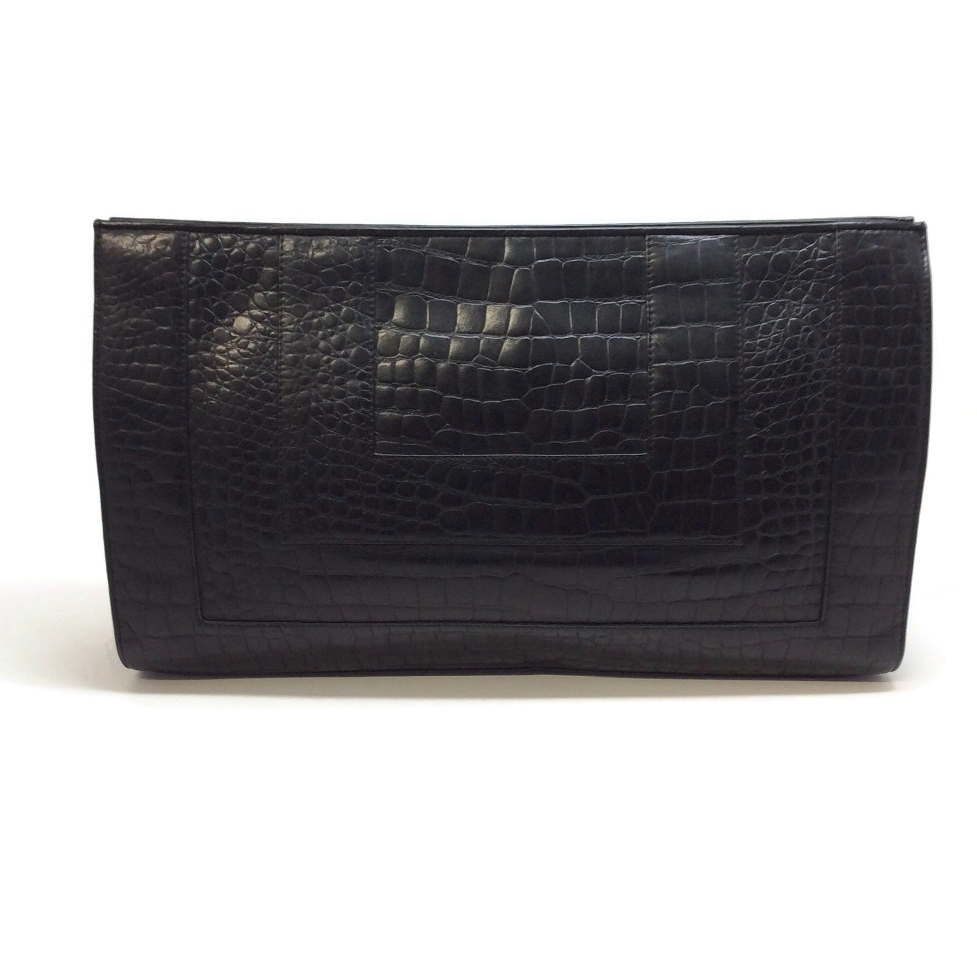 Fendi Vintage Large Black Crocodile Skin Leather Clutch