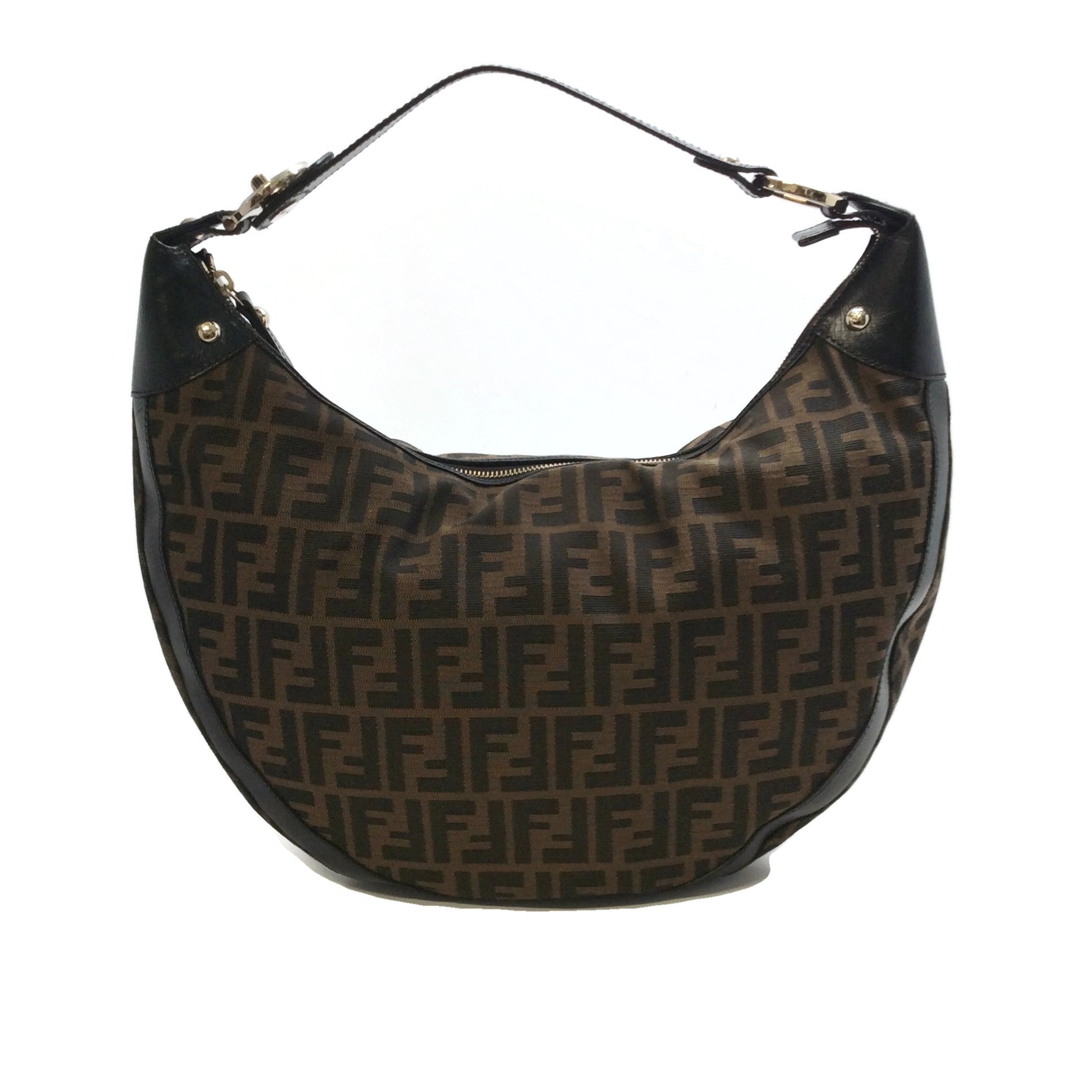 Fendi Half Moon Brown Zucca Hobo Bag