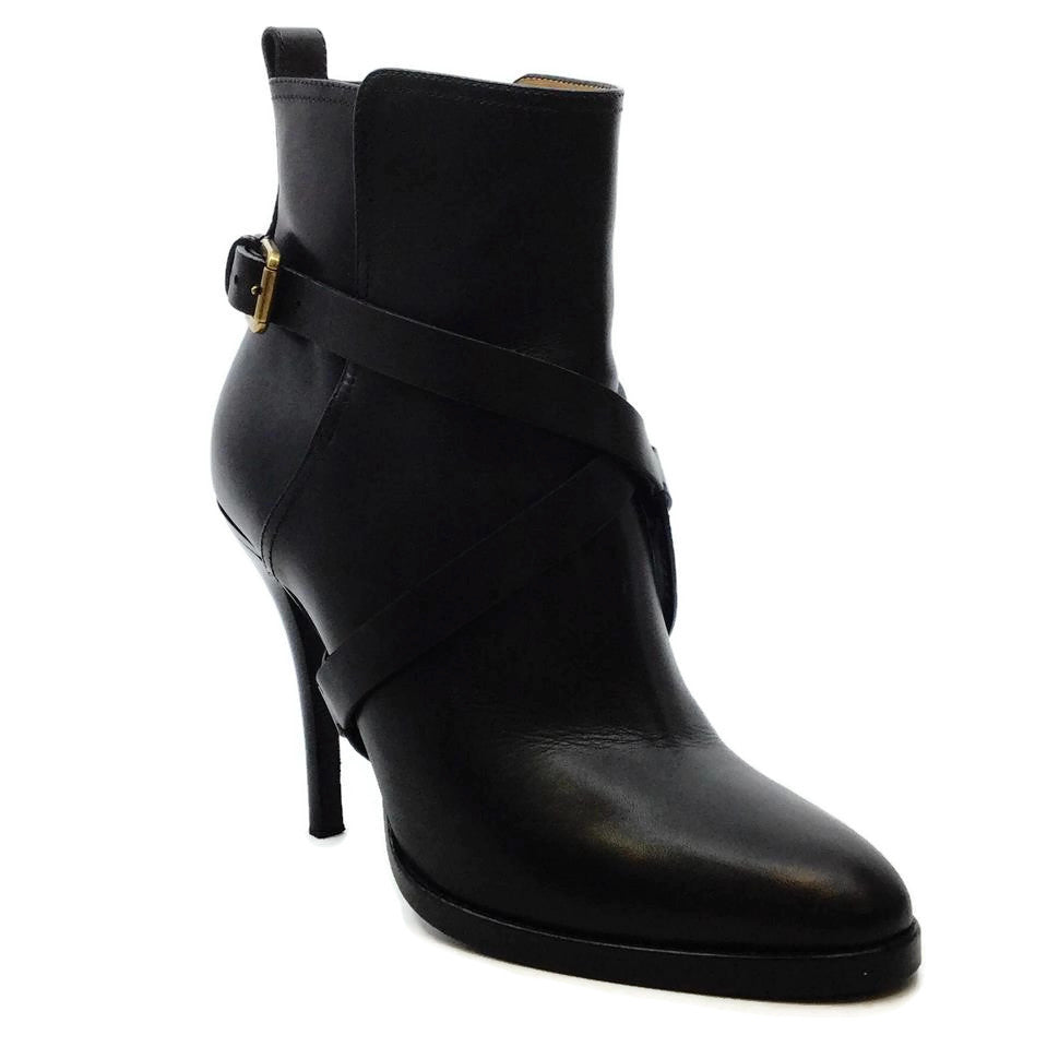 Ralph Lauren Collection Black Leather Ankle Wrap Stiletto Boots/Booties