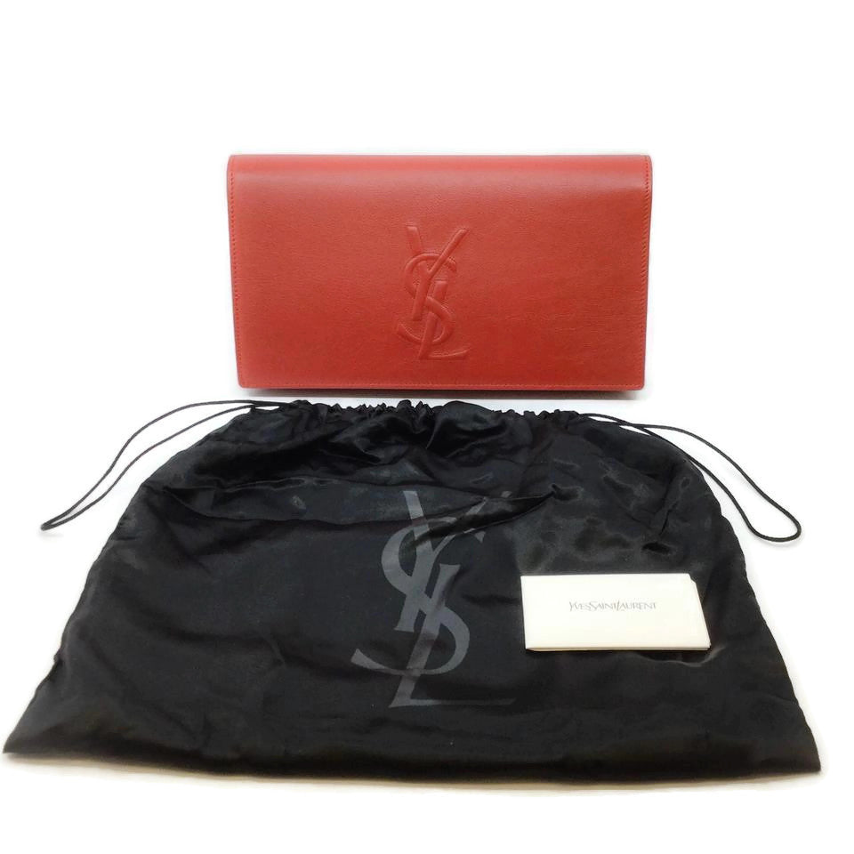Saint Laurent BDJ Chevrette Red Leather Clutch