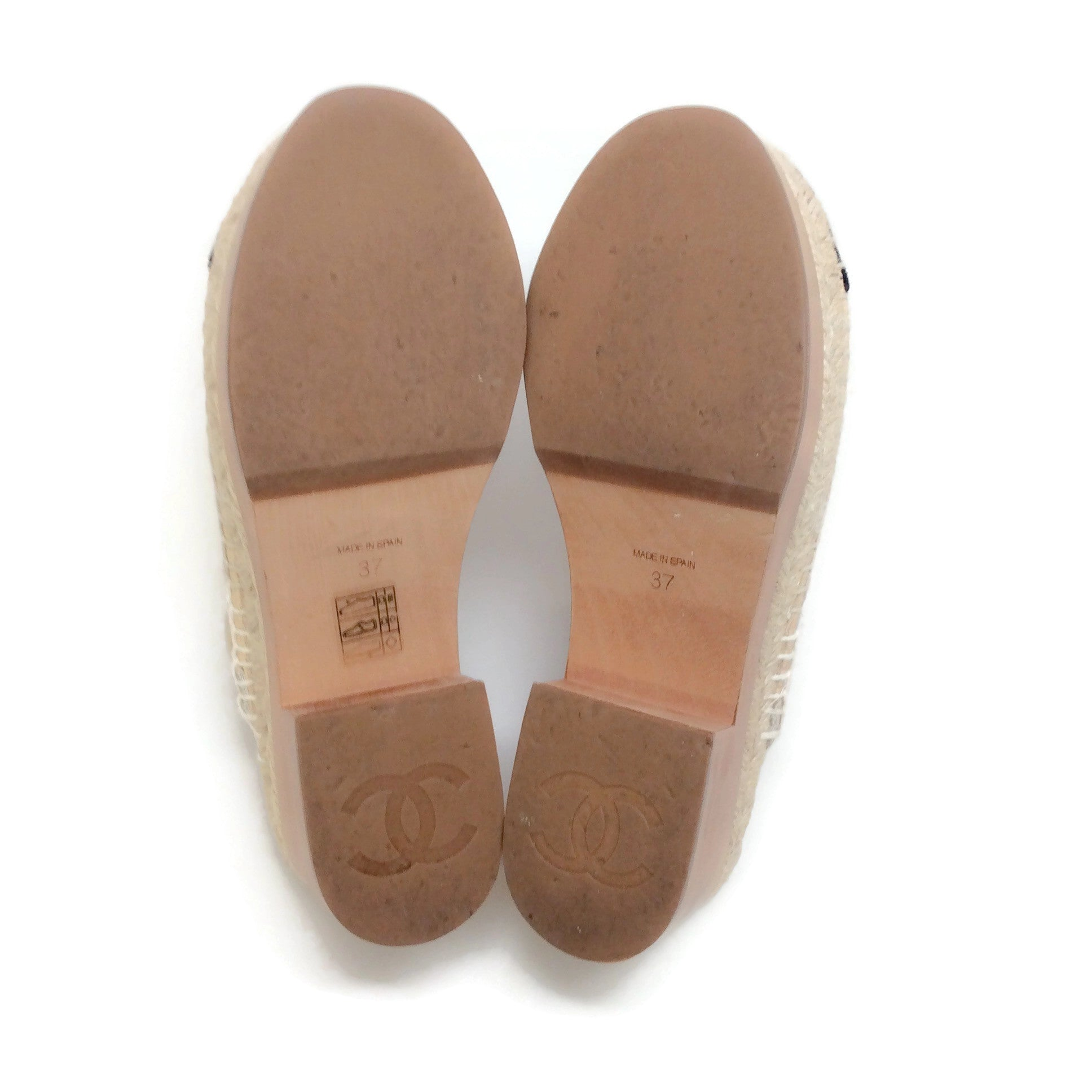 Chanel Tan / Black Quilted Espadrille Clogs
