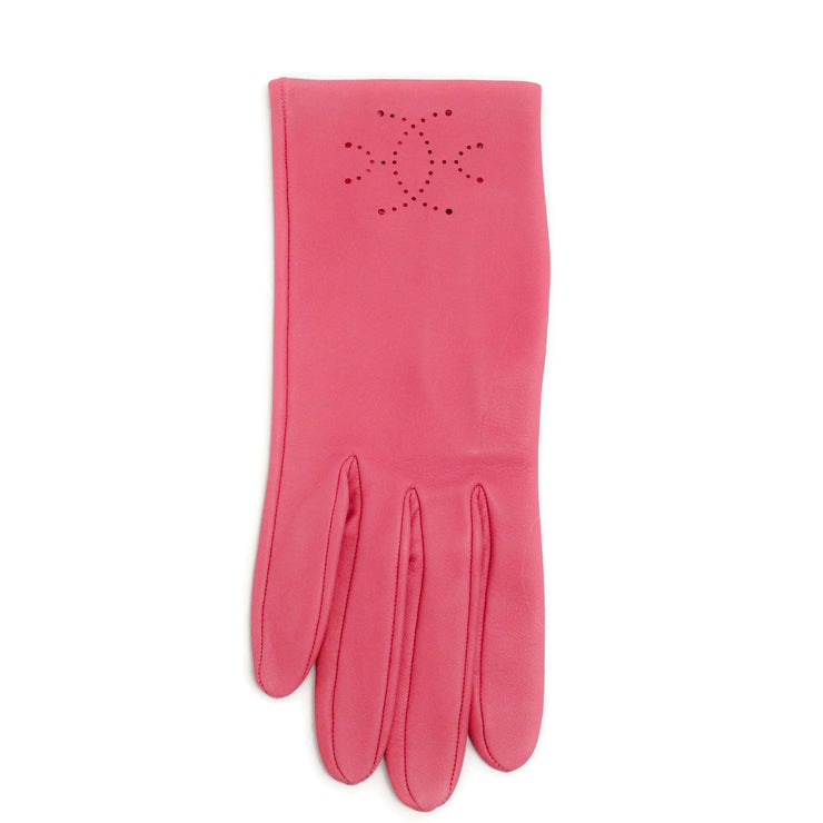 Hermès Pink Leather Perforated Gloves