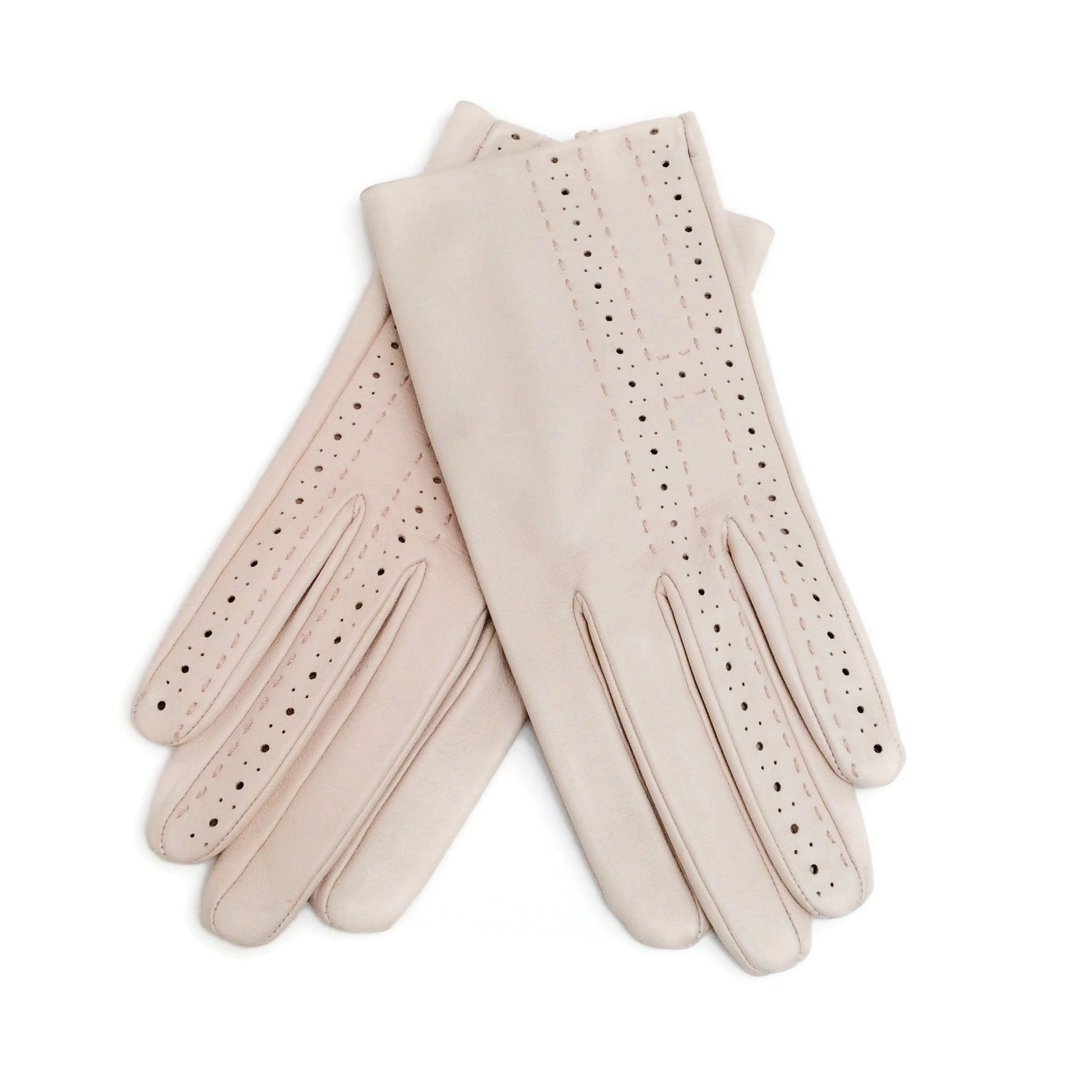Hermès Blush Leather Perforated Gloves