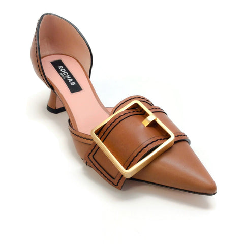 Rochas Tan Buckle Detail Pumps
