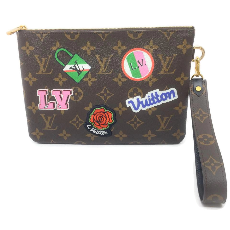Louis Vuitton City Pouch Embroidered Patch Monogram Brown Coated Canvas Clutch