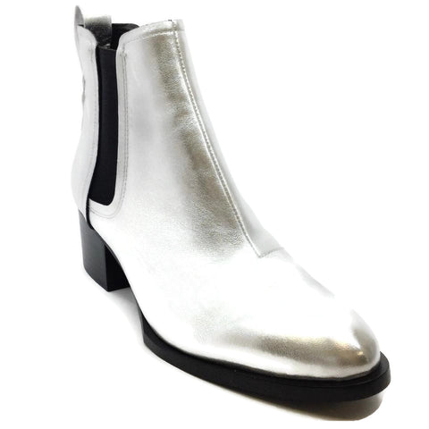 Rag & Bone Silver Metallic Leather Ankle Boots/Booties