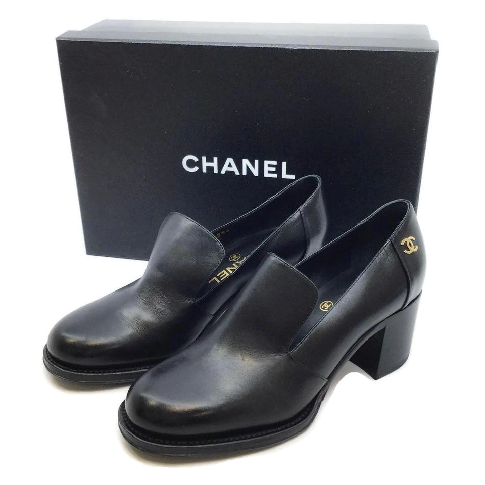 Chanel Black Leather Loafers