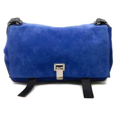 Proenza Schouler Blue / Black Suede Leather Shoulder Bag