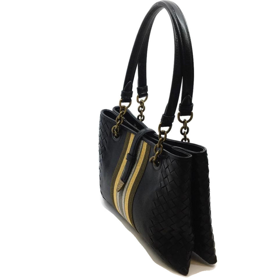 Bottega Veneta Beaded Stripe Nappa Black Leather Shoulder Bag