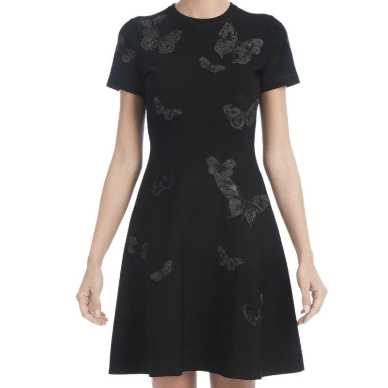 Valentino Black Knit Butterfly Fit and Flare Casual Dress