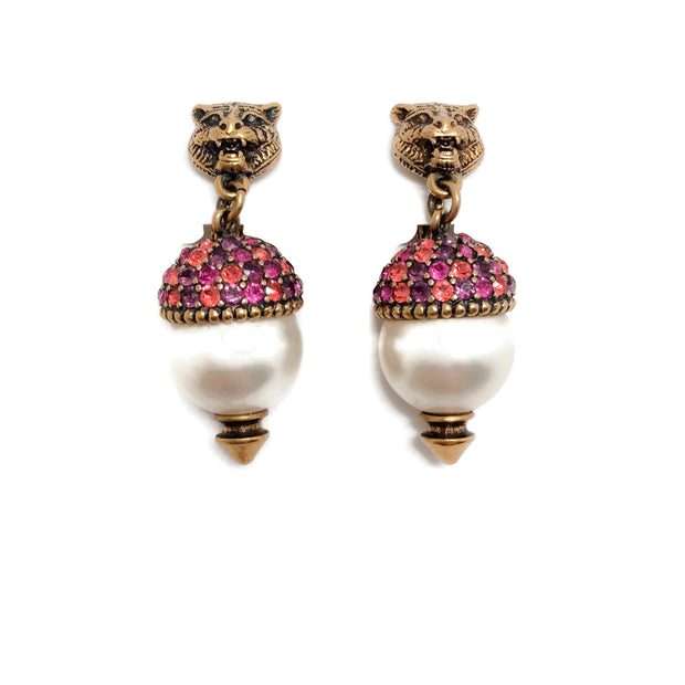 Gucci Pink / Purple Crystal Feline Pearl-effect Embellished Earrings