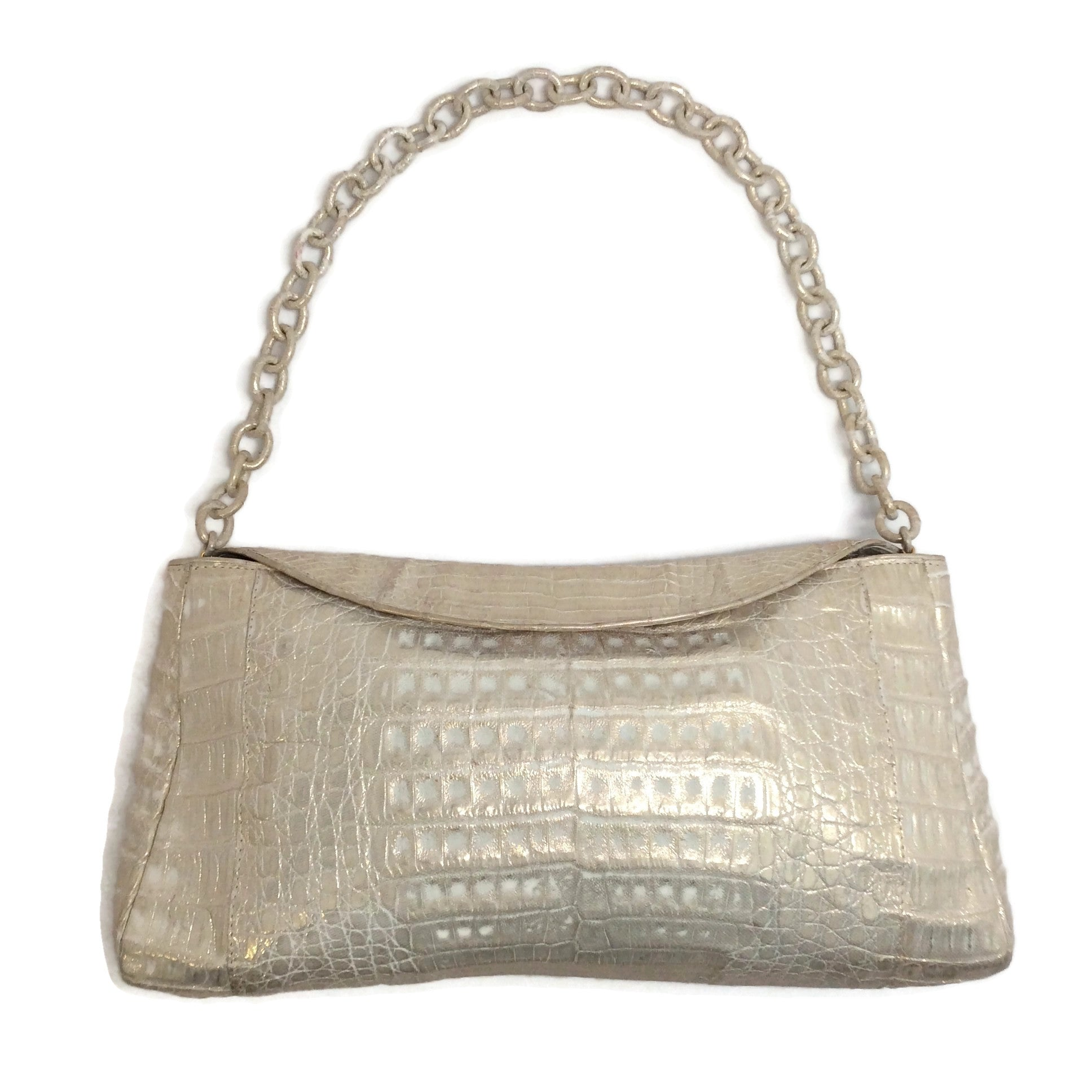 Nancy Gonzalez Light Gold Crocodile Skin Flap Leather Shoulder Bag