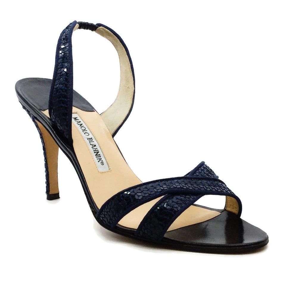 Manolo Blahnik Navy Sequin Slingback Sandals