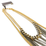 Roberto Cavalli Gold / Silver Multi Chain Tassel Necklace