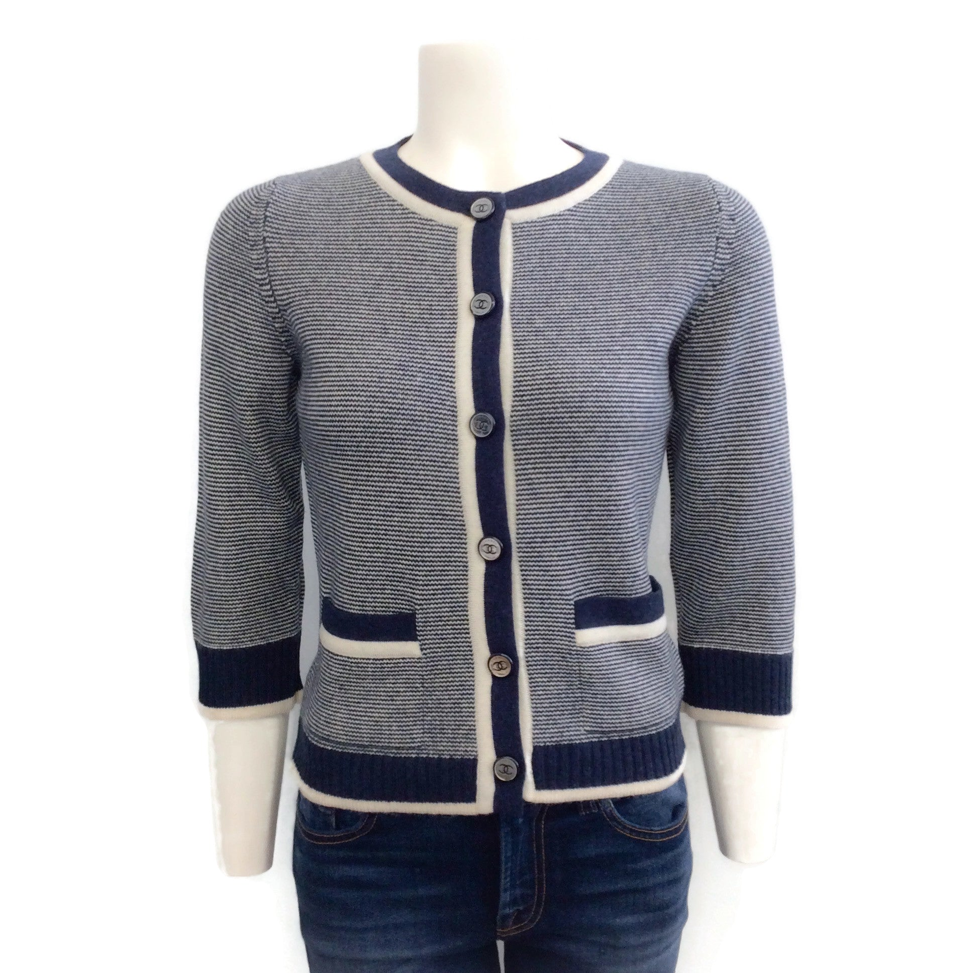 Chanel 08C Navy and White Stripe Sweater